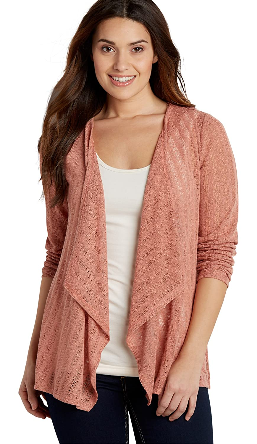 Maurices Women's Pointelle Stitched Cardigan With Crocheted Back