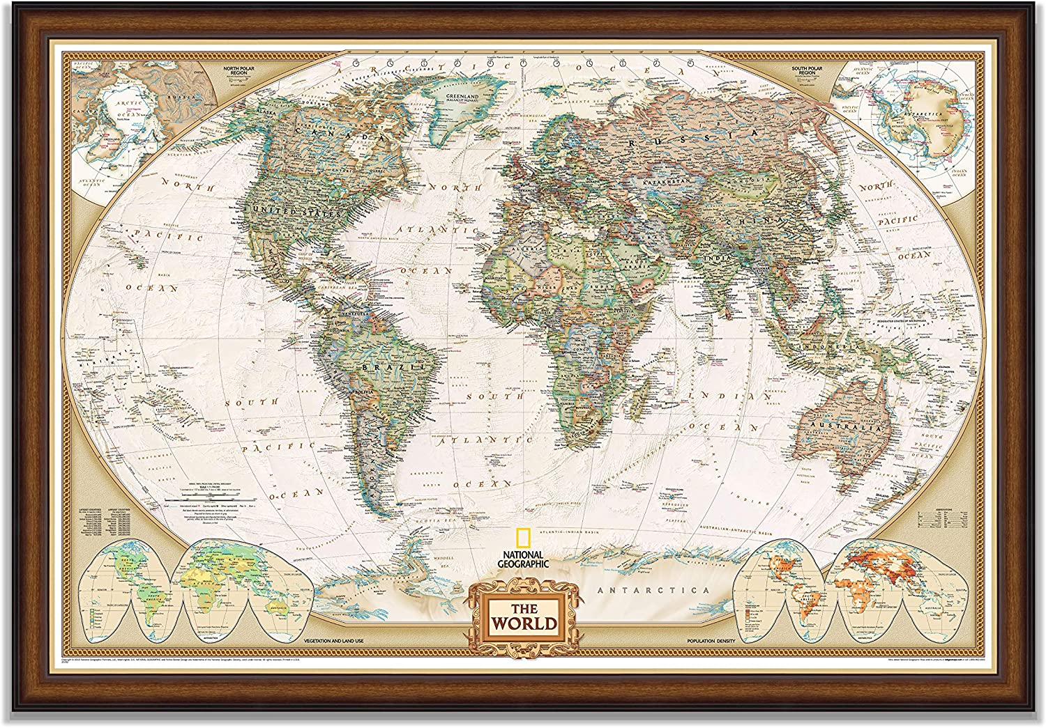 Renditions Gallery, Black Walnut Executive National Geographic World Travel Map with Push Pins, Wall Art for Living Room, Bedroom, Office, 30x44