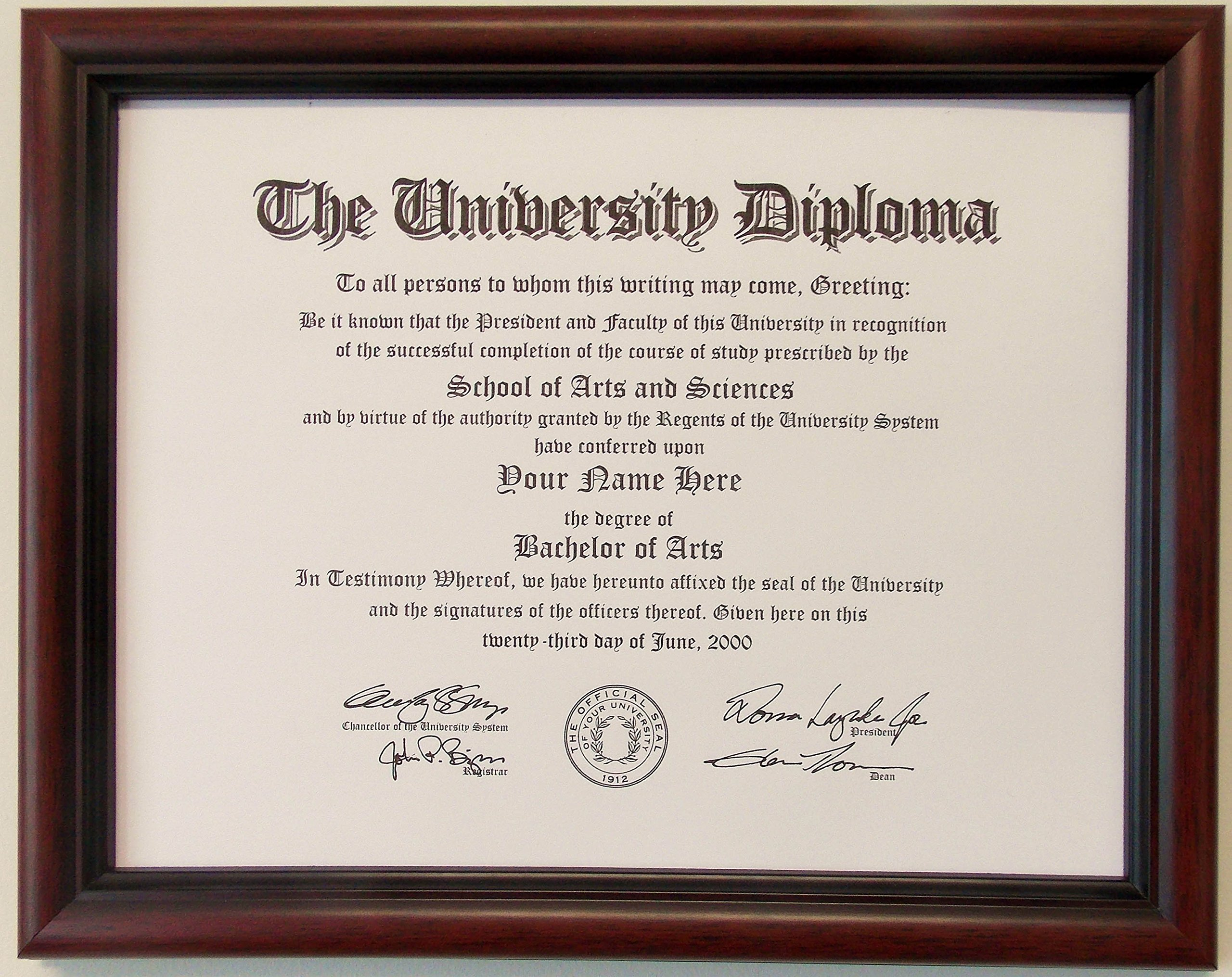 Graduation Diploma College or University 8-1/2 X11 Certificate Document  Mahogony Frame