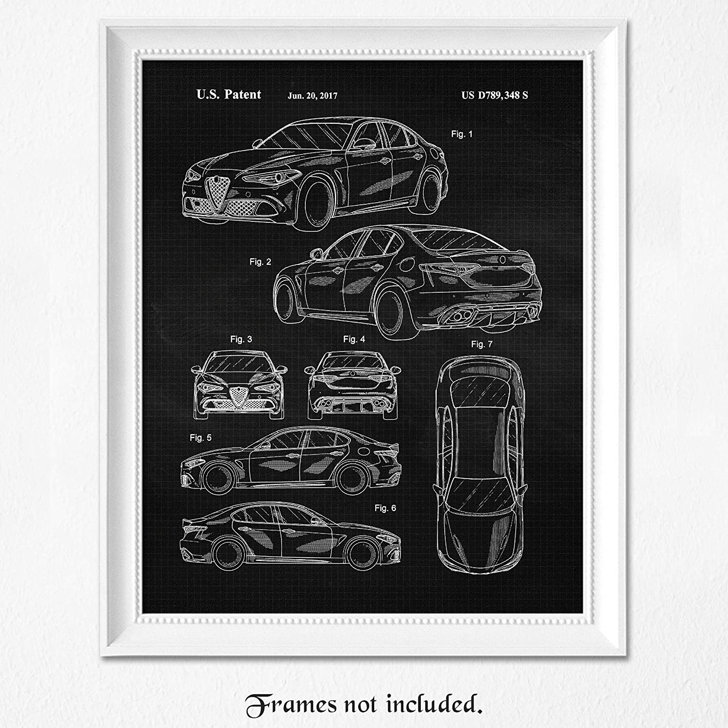 Vintage Alfa Romeo Giulia B&W Patent Poster Prints, Set of 1 (8x10) Unframed Photo, Wall Art Decor Gifts Under 15 for Home, Office, Man Cave, College Student, Teacher, Coach, Italy Cars & Coffee Fan
