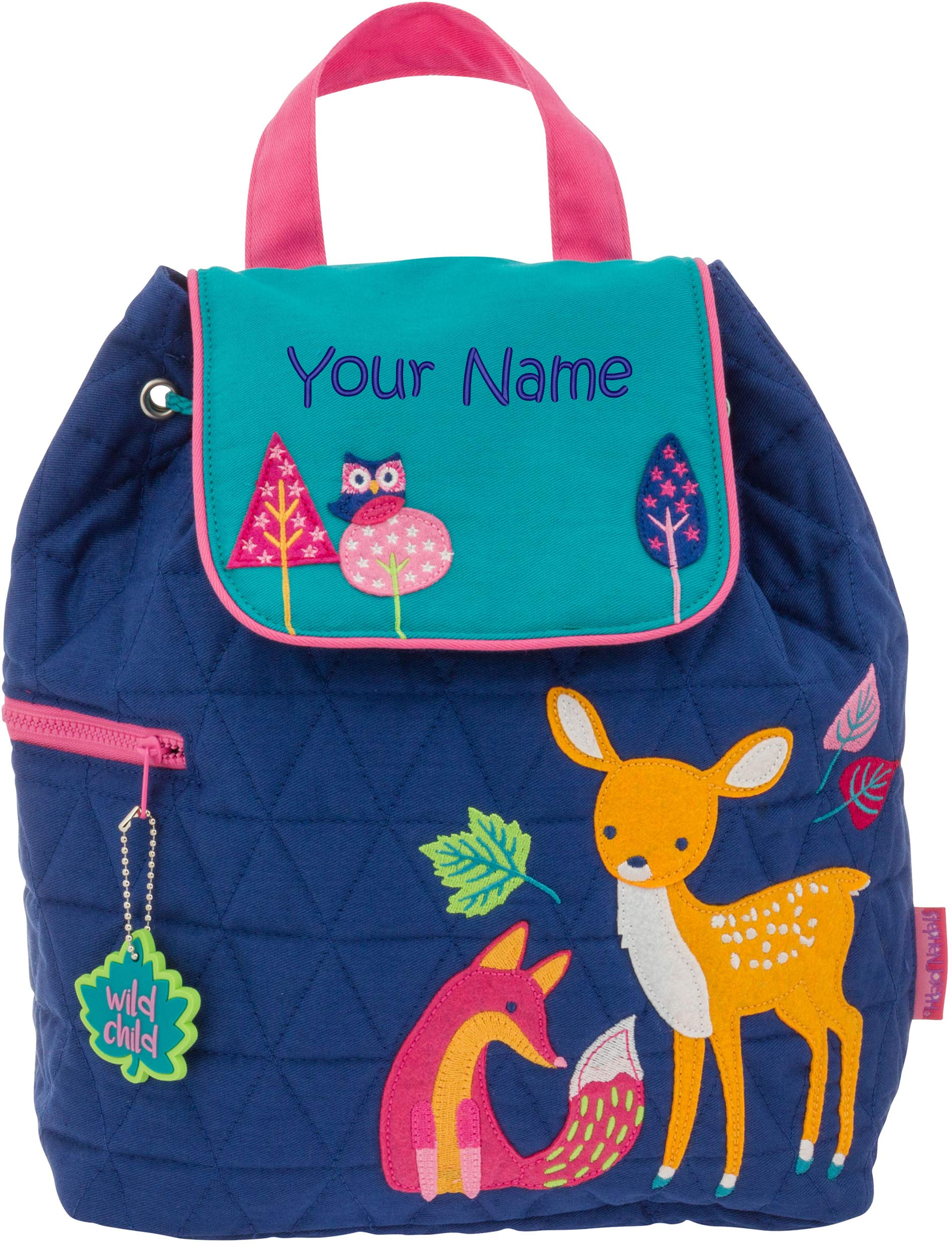 Personalized Stephen Joseph Woodland Quilted Backpack with Embroidered Name