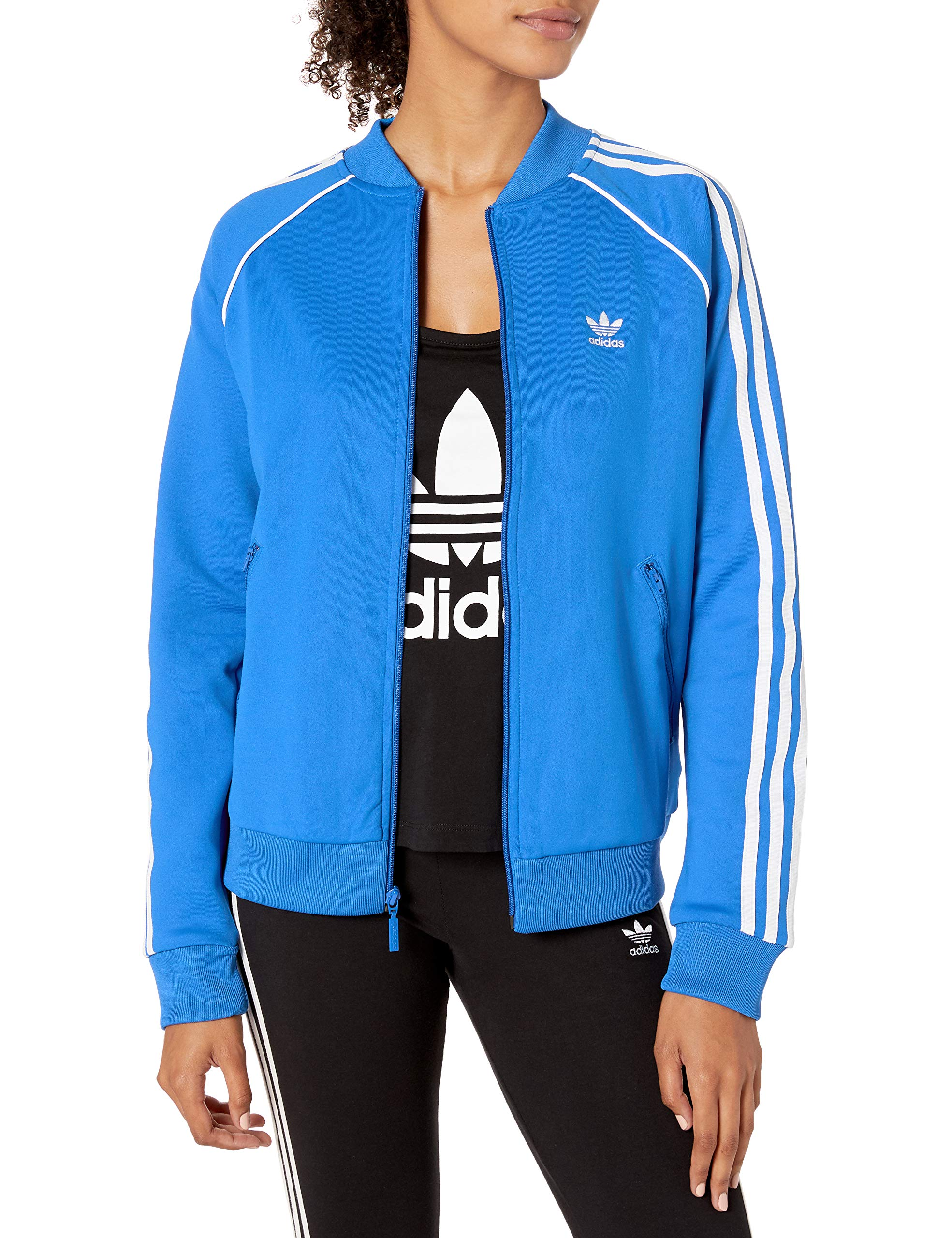 adidas Originals Women's Superstar Track Top Jacket, Blue Bird, Small by adidas Originals
