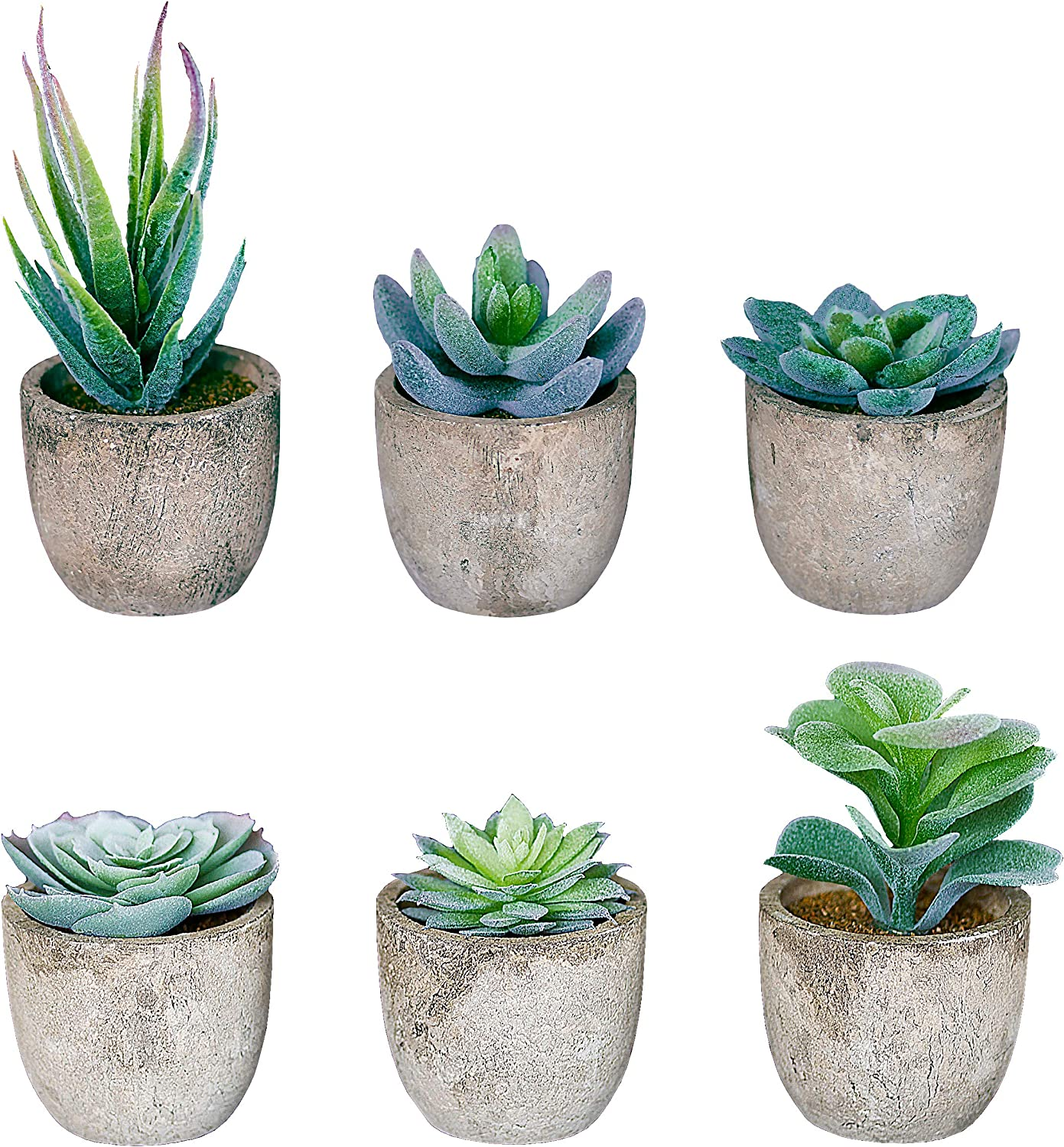 Set of 6 Artificial Succulent Plants with Pots – Realistic Greenery Flocking Mini Potted Faux Plant Arrangements | For Home Office Decor, Dorm Room, Bathroom, Kitchen Table Centerpieces
