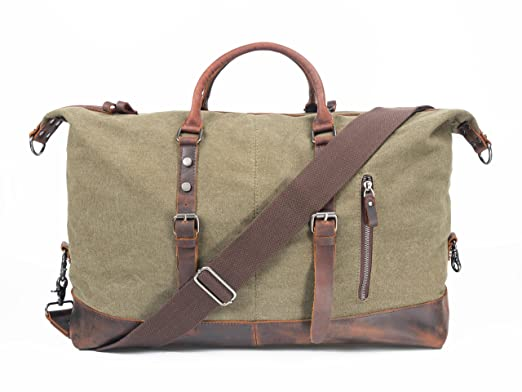 608d21eaad Leather Canvas Duffel Bags Extra Large Travel Handbag Oversized Strap Weekend  Gym Totes (Army Green