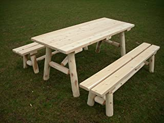 product image for White Cedar Log Picnic Table with Detached Bench - 8 Foot