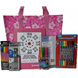 Adult Coloring Book Gift Set Bundle - 7 Items: Luau Flower Tote, Gel Pens, Colored Pencils, Markers, Pencil Pouch, Easy to See Large Print Coloring Book of Mandalas & Patterns (Pink)