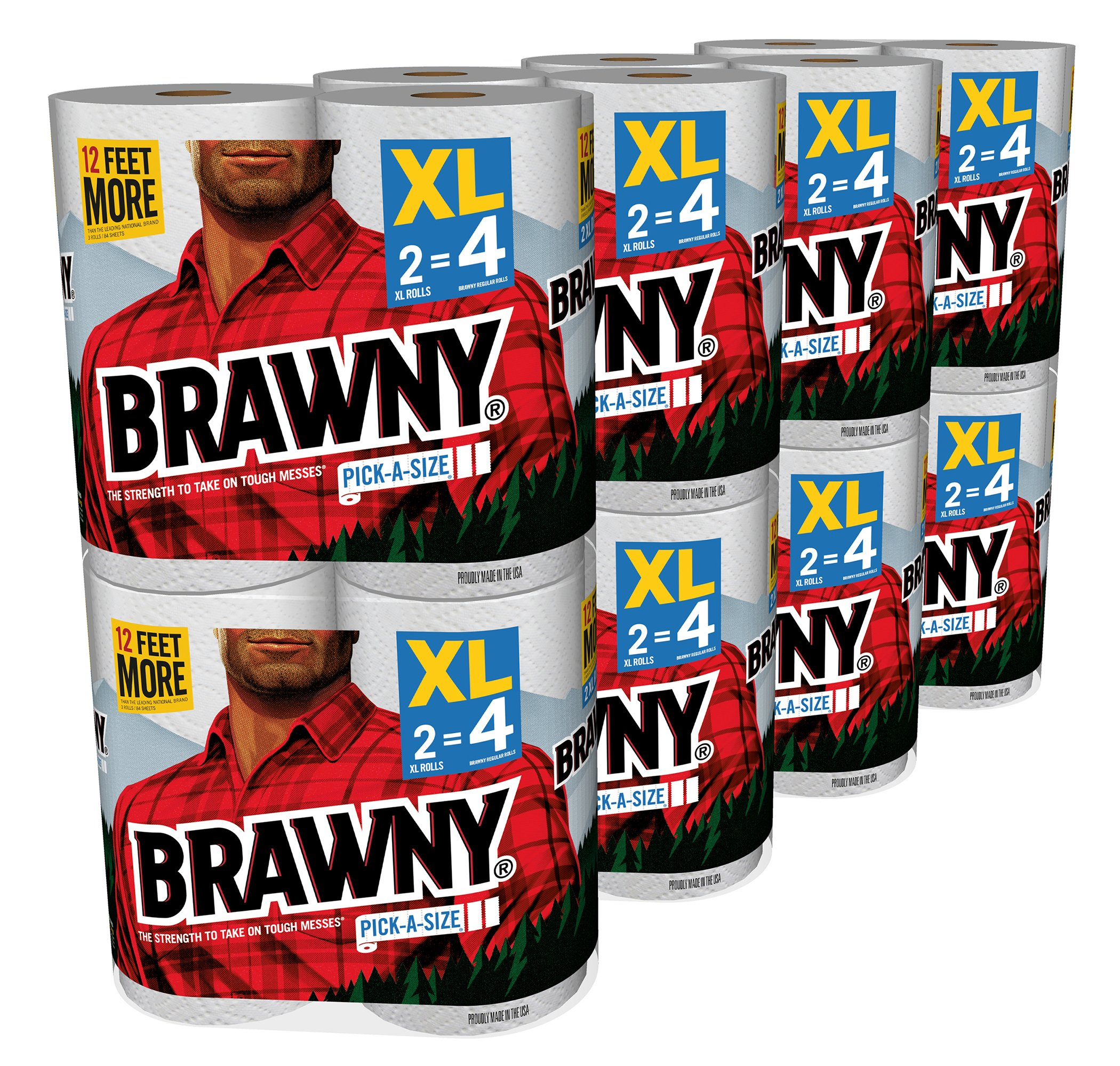 Brawny Pick-a-Size Paper Towels, White, XL Rolls, 16 XL Rolls (140 Sheets per roll)