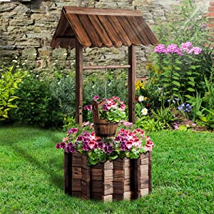 Aoxun Wooden Wishing Well Planter with Hanging Bucket for Flower and Plants Indoor and Outdoor, Rustic Flower Planter Patio Garden Ornamental, Home Decor , Brown