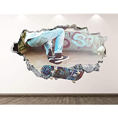 "West Mountain Skater Wall Decal Art Decor 3D Smashed Sport Skateboard Sticker Mural Kids Room Custom Gift BL109 (22"" W x 14"" H): Home & Kitchen"