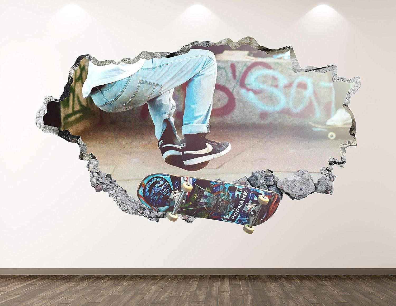 West Mountain Skater Wall Decal Art Decor 3D Smashed Sport Skateboard Sticker Mural Kids Room Custom Gift BL109 (22