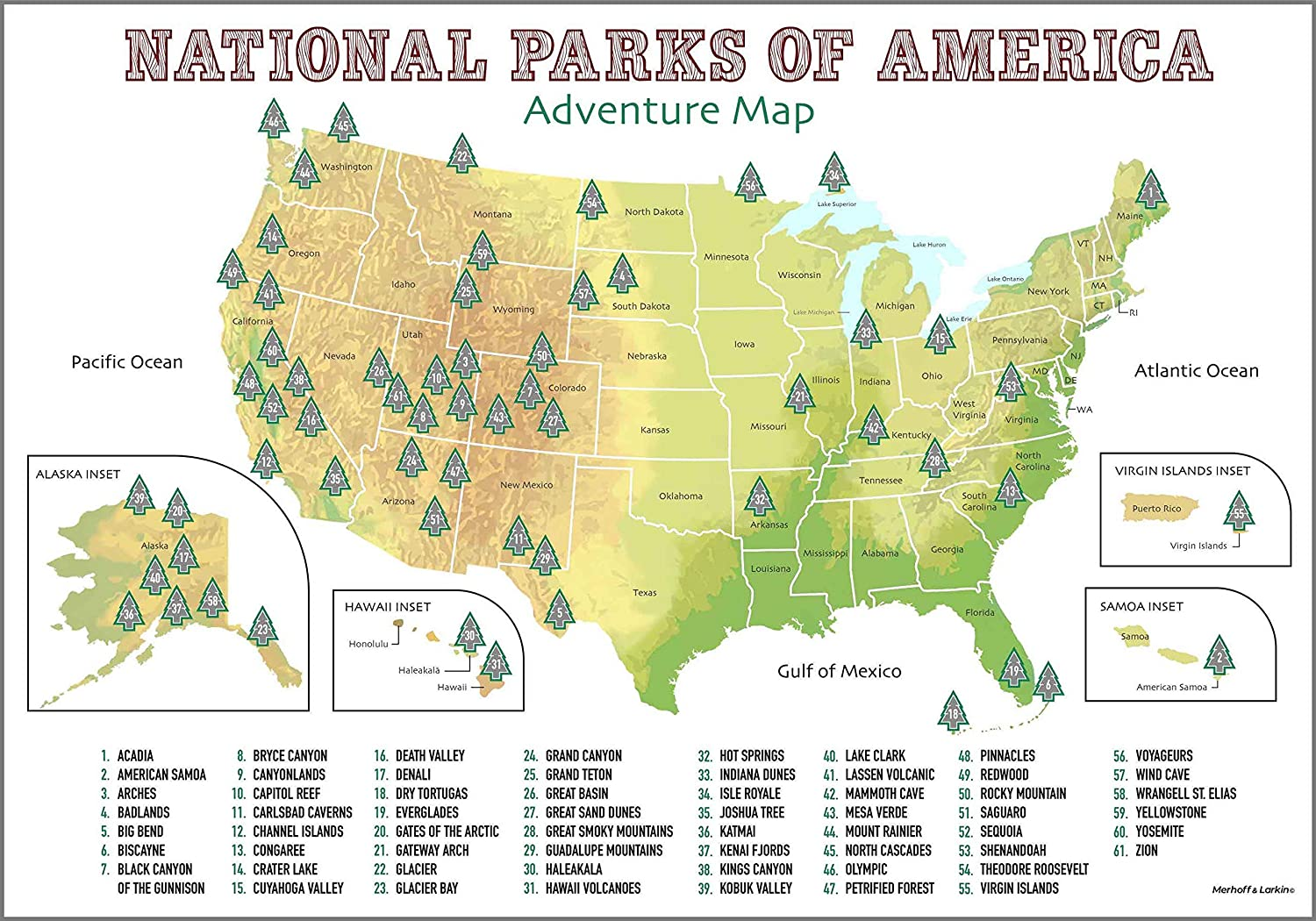 USA National Parks Scratch Off Poster   Only Up-To-Date Geographic Map With  All 61 Scratchable National Parks   Poster Size A2   Perfect Gift Includes  ...