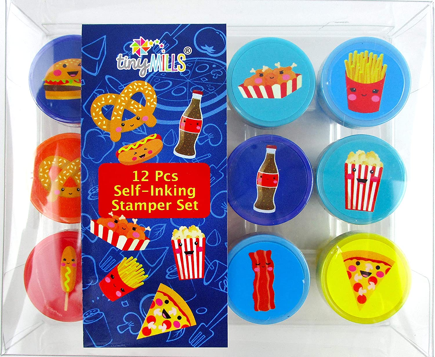 TINYMILLS 12 Pcs Cute Cartoon Food Stamp Kit for Kids