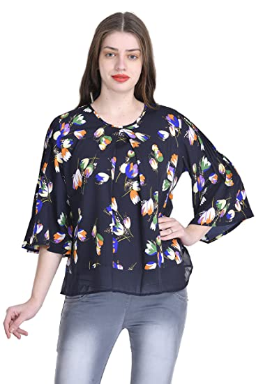 b97f0c7beccc Umangutsav Navy Floral Printed Crepe Top For Women (Top, womens top, casual  top, designer top): Amazon.in: Clothing & Accessories