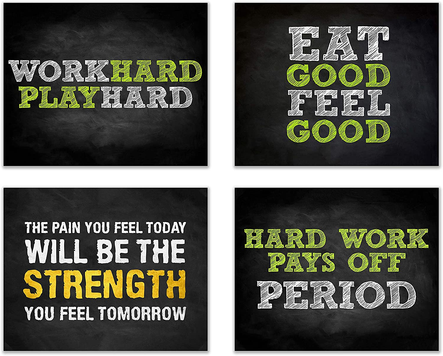 Amazon Com Summit Designs Gym Workout Motivational Quotes Wall Decor Art Prints Set Of 4 8x10 Poster Photos Bedroom Man Cave Posters Prints