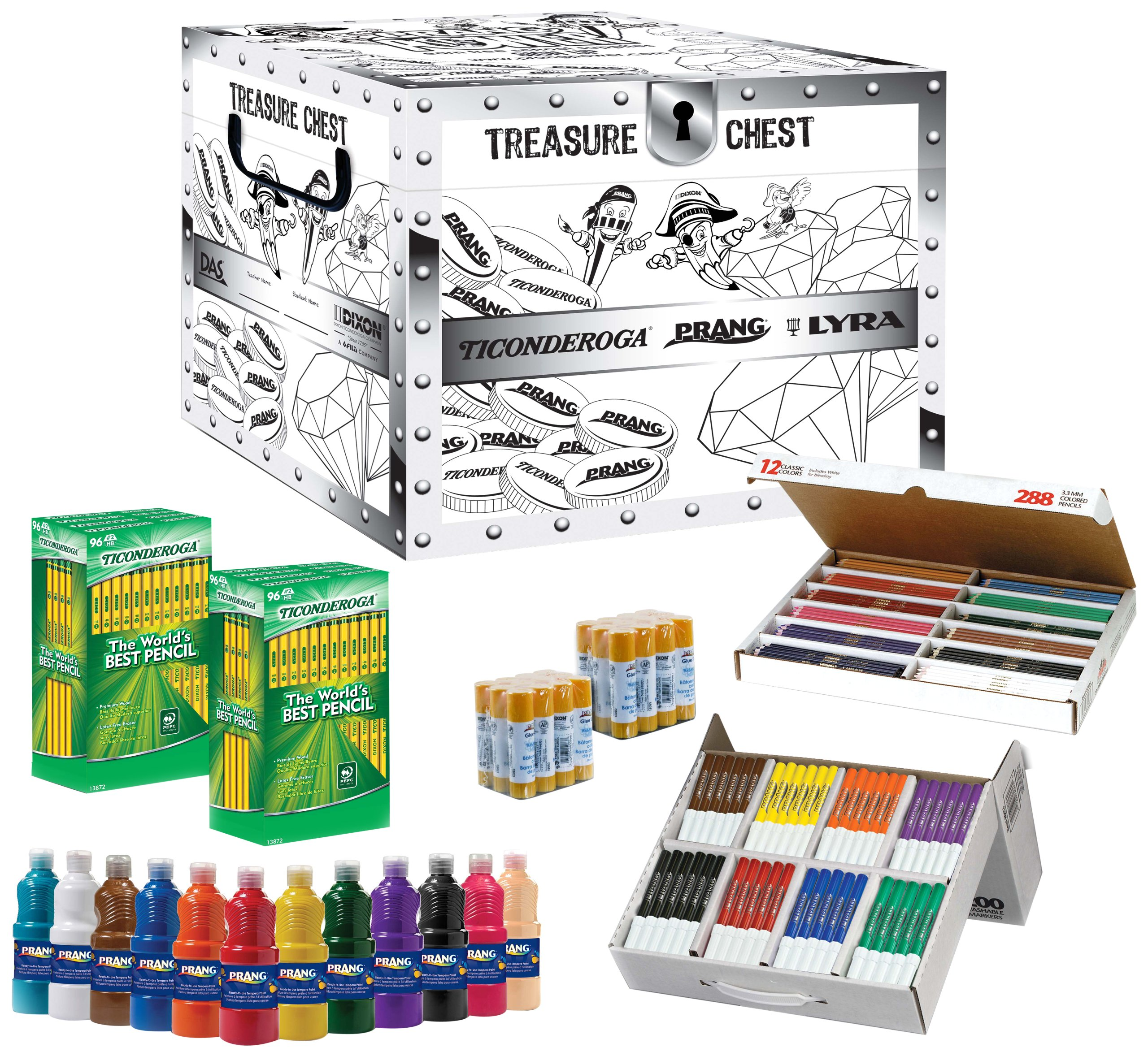 Dixon Prang Teacher's Kit with Activity Treasure Chest, Includes Markers, Colored Pencils, Tempura Paint and Glue Sticks, Assorted Colors (43106)