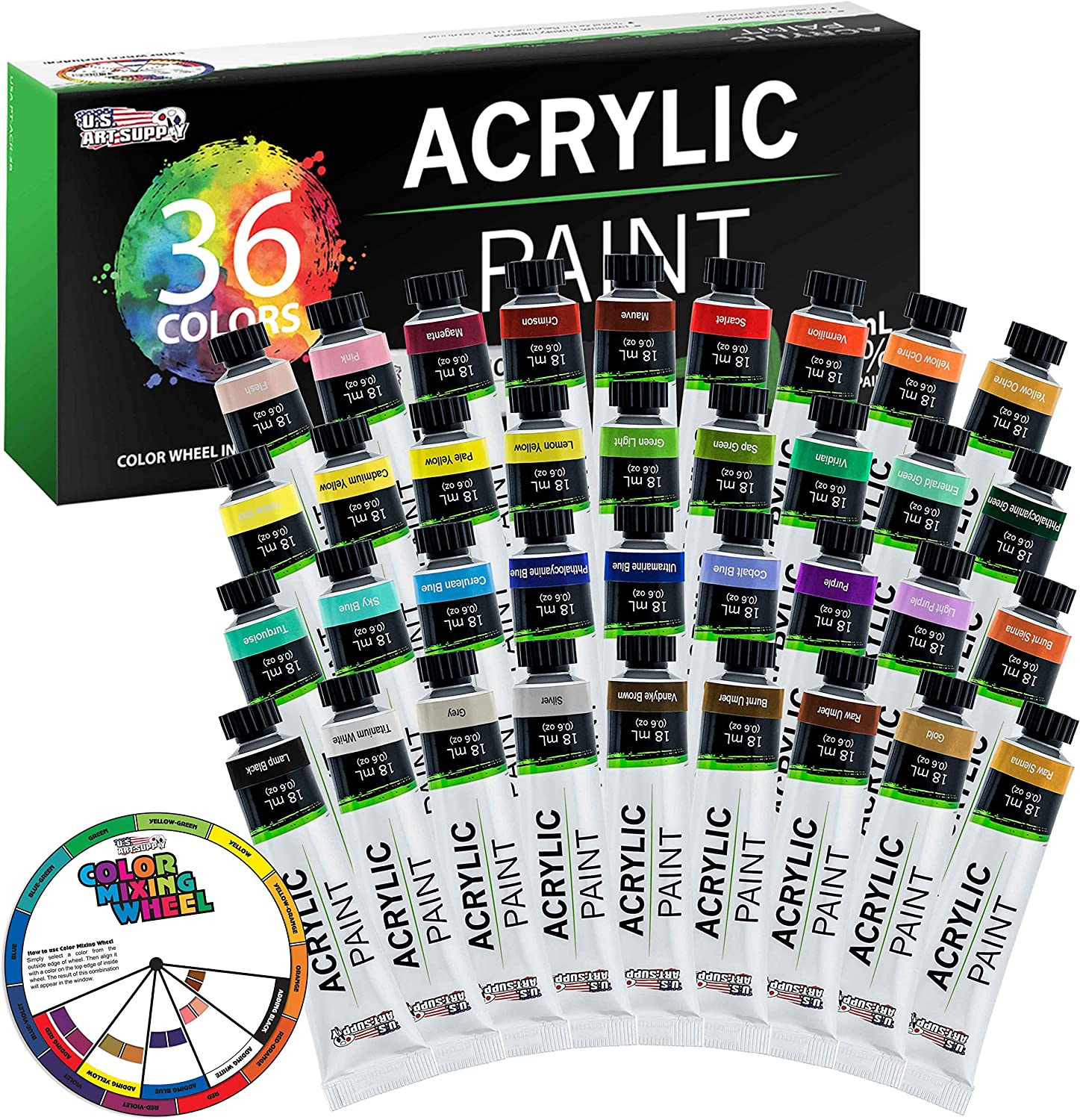 U.S. Art Supply Professional 36 Color Set of Acrylic Paint in Large 18ml Tubes - Rich Vivid Colors for Artists, Students, Beginners - Canvas Portrait Paintings - Bonus Color Mixing Wheel