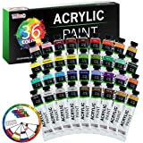 U.S. Art Supply Professional 36 Color Set of Acrylic Paint in Large 18ml Tubes - Rich Vivid Colors for Artists, Students…