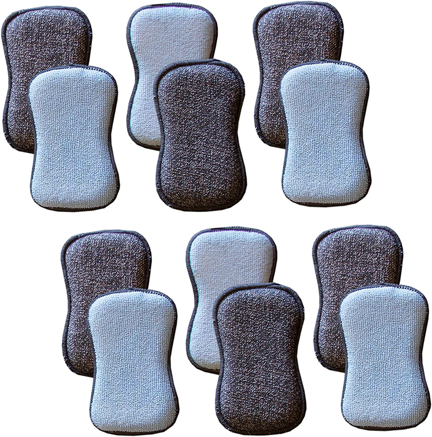 Tuff-Scrub Microfiber Multi Surface Scrub and Wipe Sponges, Dual-Sided for Scouring and Easy Household Cleaning, Machine Washable (Pack-12)