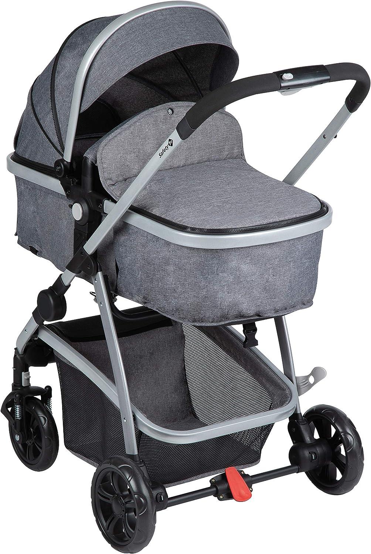 Safety 1st Hello Trio Set Carrito de bebé 3 en 1, Silla de Paseo Convertible en Capazo + Portabebé 0+, Cochecito reversible, reclinable y plegable
