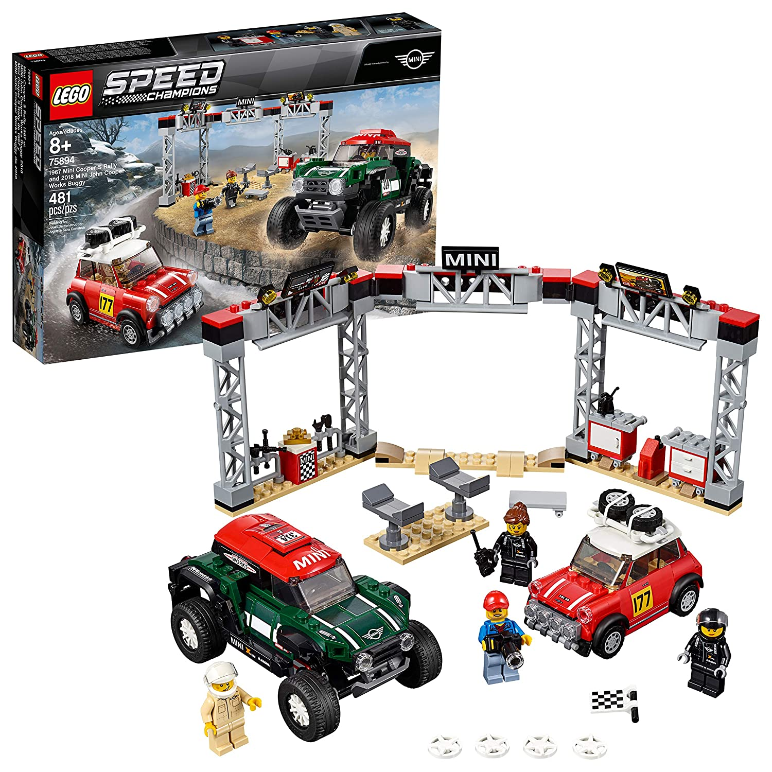 LEGO Speed Champions 1967 Mini Cooper S Rally and 2018 MINI John Cooper Works Buggy 75894 Building Kit (481 Pieces)