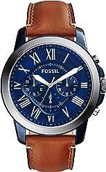 FOSSIL Grant / Montre chronographe homme avec cadran bleu et bracelet vintage en cuir brun - Boîte de rangement et pile incluses