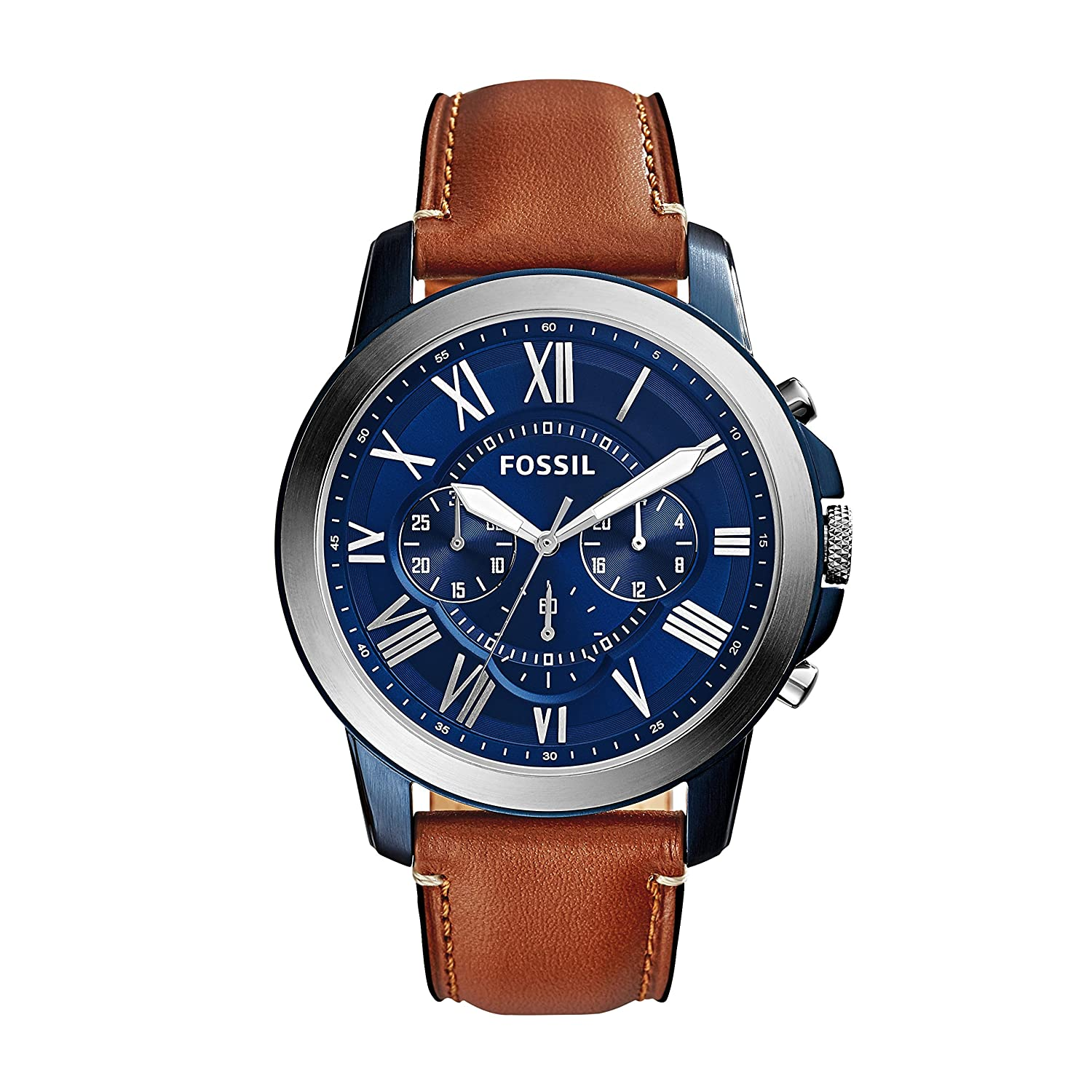 a13149d397ce2 FOSSIL Grant Chronograph Light Brown Leather Watch – Analogue Men s Watch  with Blue Dial and Brown Leather Strap – Quartz Movements