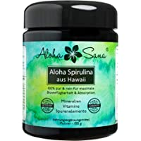 Aloha Sana ® - Hawaii Spirulina Pacifica Algen Pulver, 150 g, Ultraviolettglas, laborgeprüft, energetisch getestet, Made in Germany
