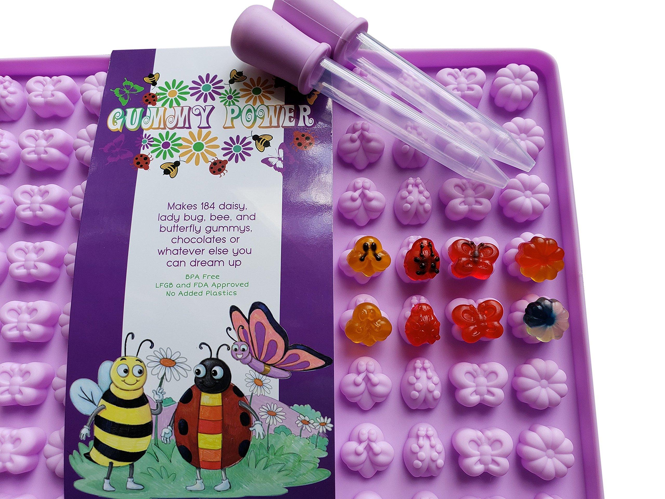 Lunchboxly Flower Butterfly Bee Ladybug Shaped Gummy Bear Mold Gummies Snacks Yogurt Popsicle Bite Mold 2 Pack