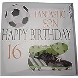 "White Cotton Cards Large ""Fantastic Son Happy Birthday 16"" Handmade 16th Birthday Card"