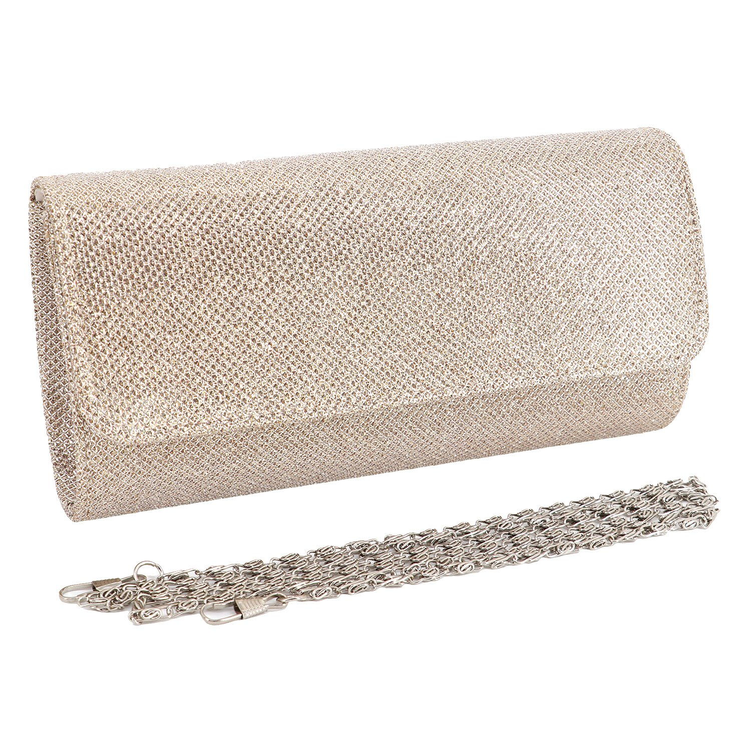 Naimo Flap Dazzling Clutch Bag Evening Bag Detachable Chain (Champagne)