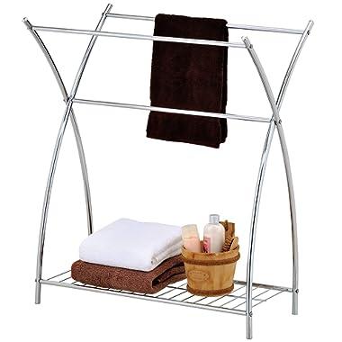 MyGift Freestanding 3 Bar Bathroom Chrome Towel Rack & Holder with Wire Shelf, Silver-Tone