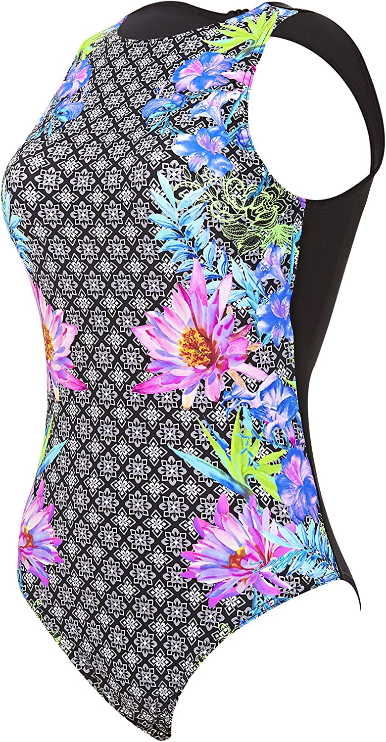 Zoggs Womens Hi Front Clip Back Eco Fabric One Piece Swimsuit sizes UK 8-18