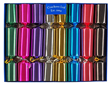 Christmas Crackers.Crackers Fill Your Own Christmas Crackers Box Of 8 Crackers In Metallic Colours