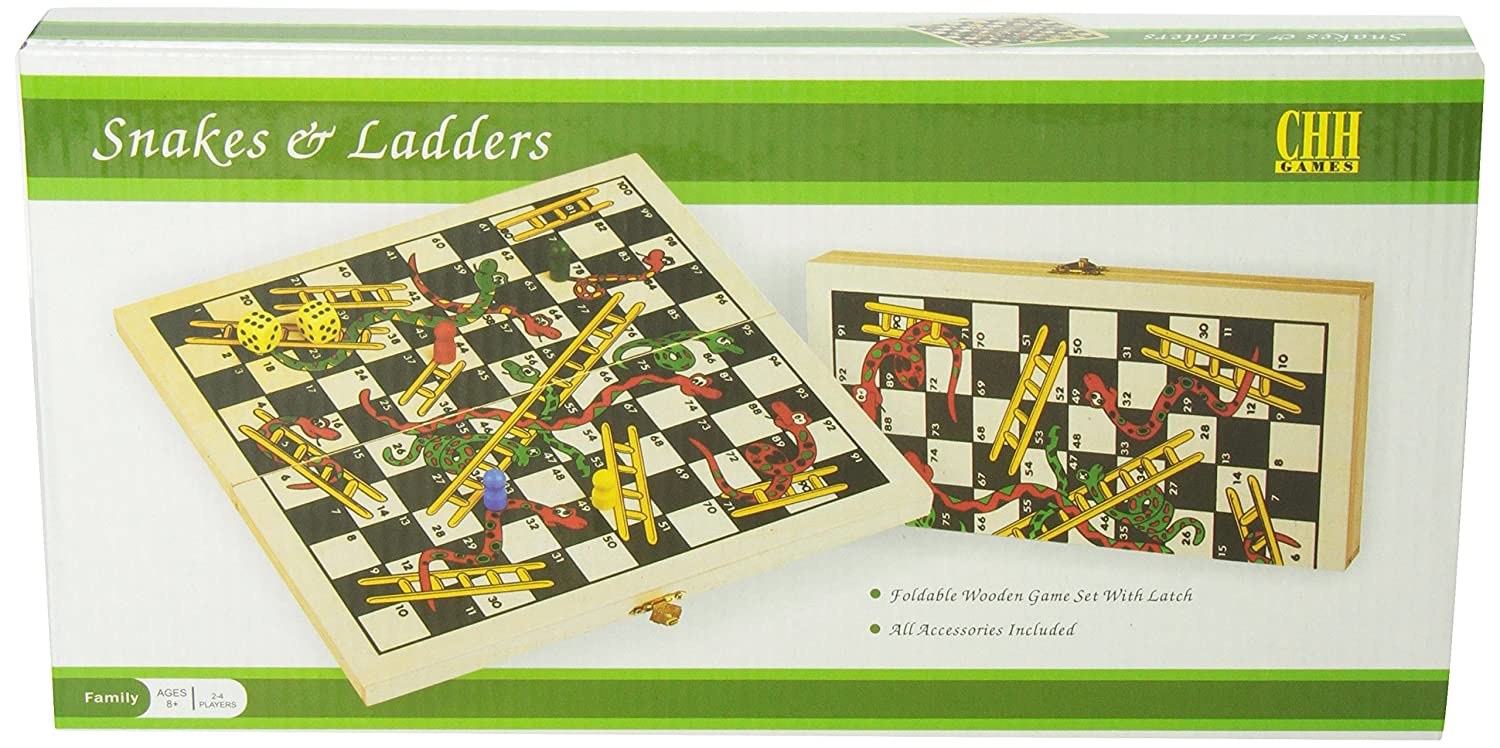 Amazon Chh Recreational Wooden Snakes Ladders Folding Game
