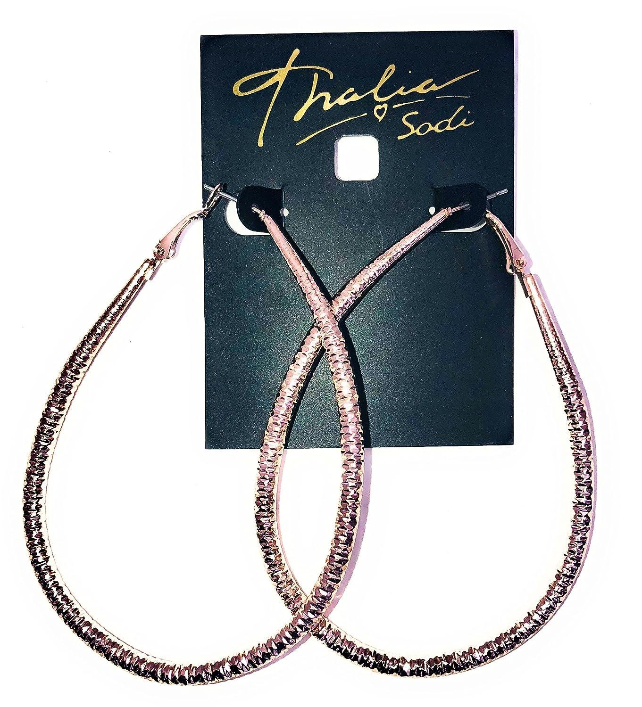f02916c9e3e35 Amazon.com: Thalia Sodi Rose Gold-Tone Teardrop Hoop Earrings: Jewelry
