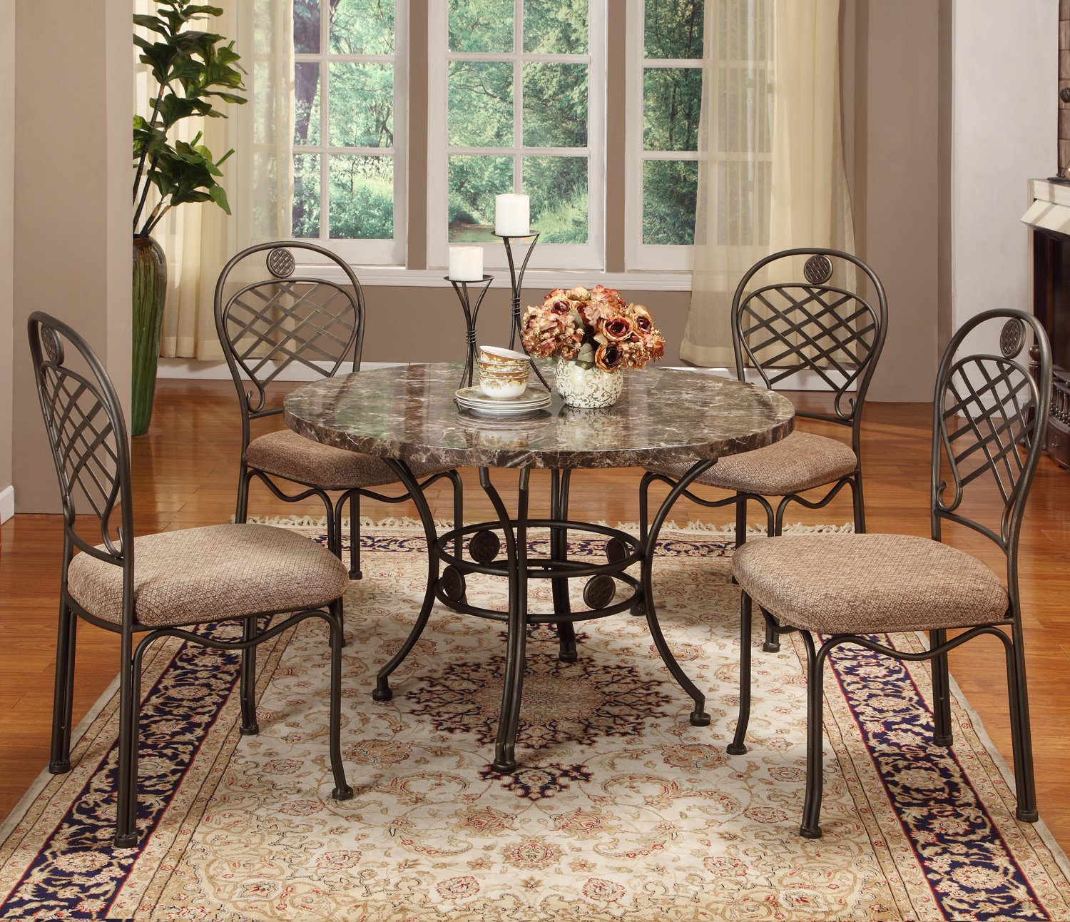 baxton studio hera modern 5 piece dining set brown