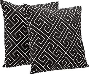 "AmazonBasics 2-Pack Linen Style Decorative Throw Pillows - 18"" Square, Black Geometric"