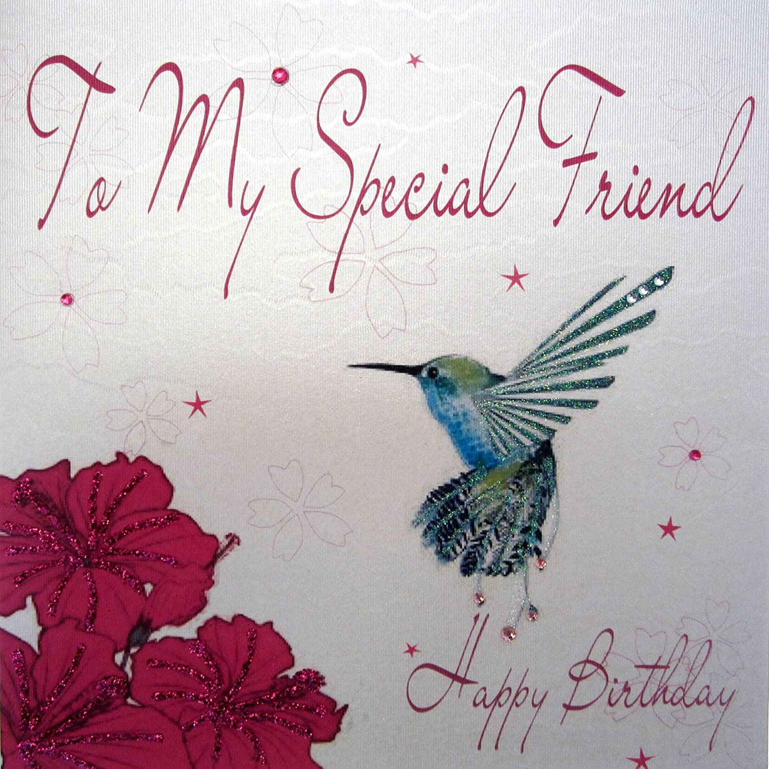 WHITE COTTON CARDS WB201 To My Special Friend Happy Birthday Handmade Card Humingbird Amazoncouk Kitchen Home