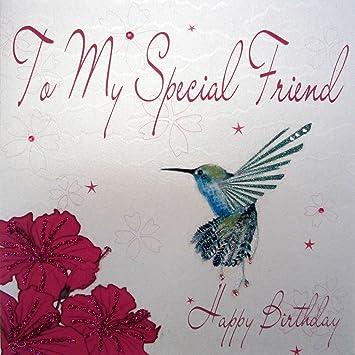 WHITE COTTON CARDS WB201 Geburtstagskarte To My Special Friend Happy Birthday Handgefertigt Motiv Kolibri