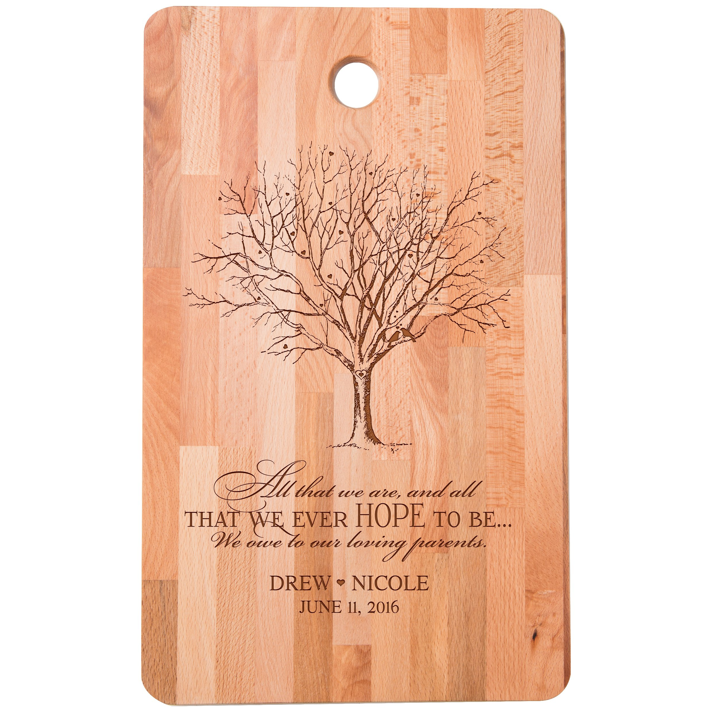 Personalized bamboo Cutting Board reads All that we are We owe to our loving parents for bride and groom Wedding Anniversary Gift Ideas for Him, Her, Couples Established Dates to Remember 11''w x 18''h