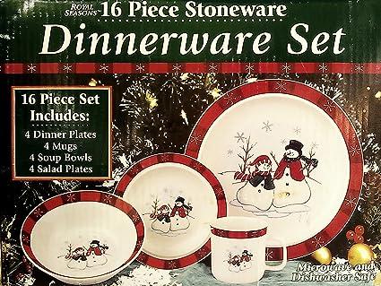 Royal Seasons 16 Pc Stoneware Snowman Dinnerware Set & Amazon.com | Royal Seasons 16 Pc Stoneware Snowman Dinnerware Set ...