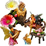 Fairy Garden Miniature Friends Fun Set of 11 pcs, Hand Painted Figurines & Accessories, Kit For Outdoor or House Decor, By Mood Lab