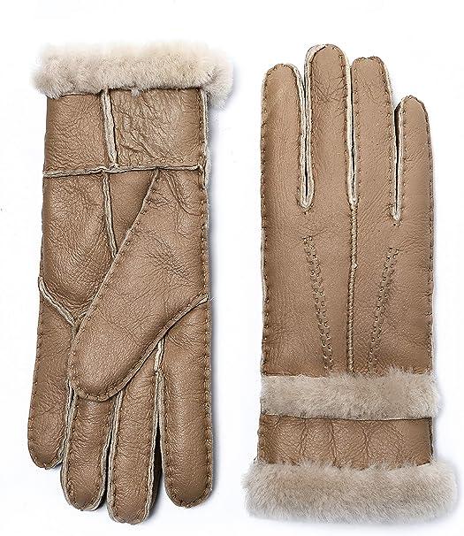 YISEVEN Damen Lammfell Handschuhe aus Shearling