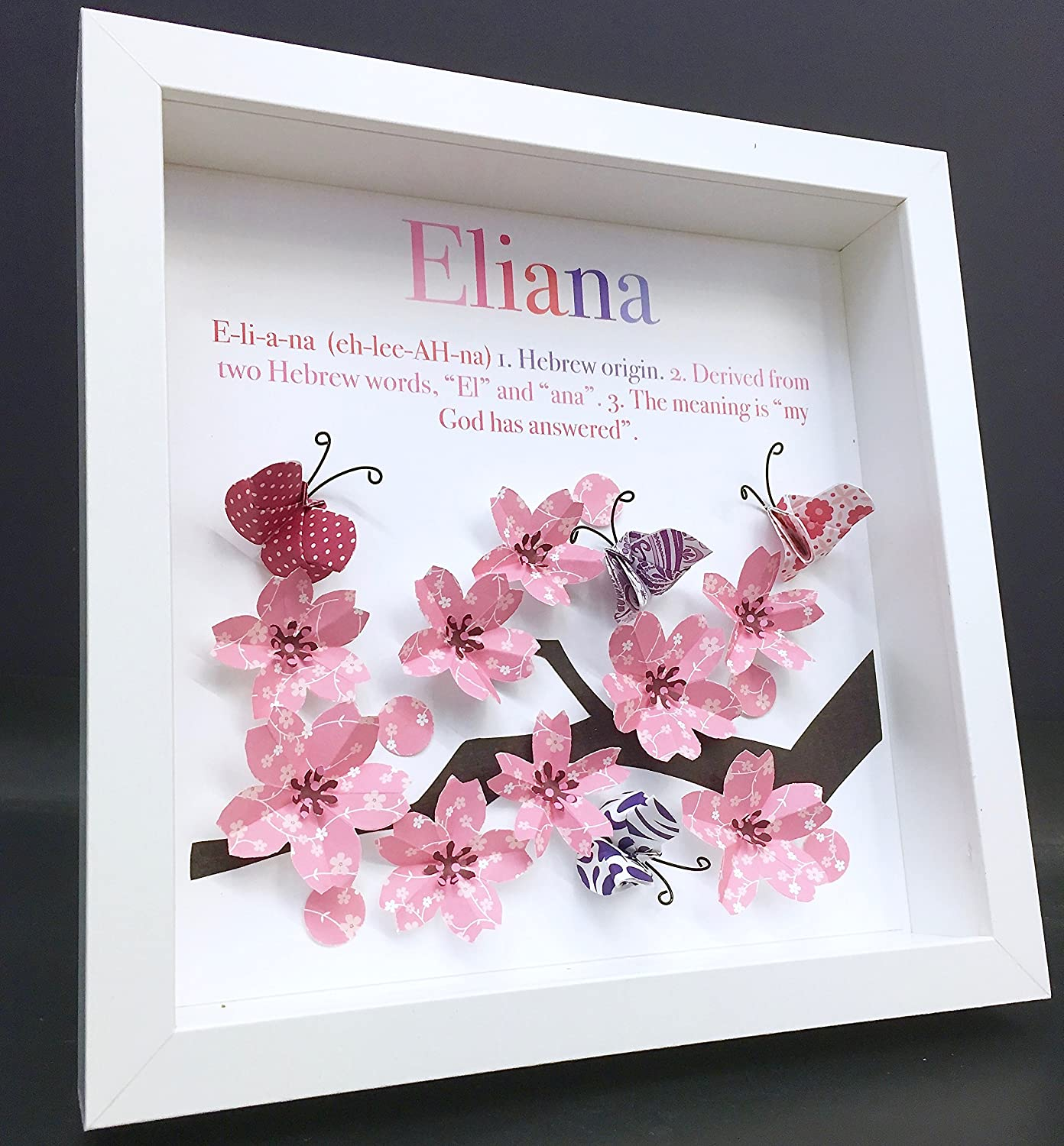 Personalized Name Origin and Meaning Paper Origami Shadowbox Frame with Cherry Blossoms & Butterflies Newborn Baby Shower Nursery Girl Gift