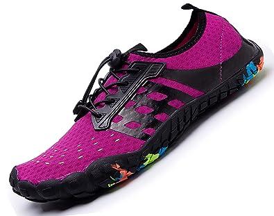 6093b6d2179 Amazon.com | Womens Mens Aqua Water Shoes Quick Dry Barefoot Sports Exercise  for Walking Swimming Diving Beach Surf Pool Yoga,Purple 8 M US Women / 6.5  M ...