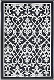 Fab HAB–Santa Cruz–barbabietola & bianco indoor outdoor Rug/Mat, Cream & Black, 90 cm x 150 cm