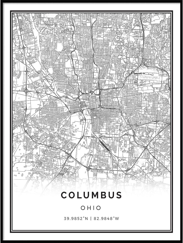 Squareious Columbus map Poster Print | Modern Black and White Wall Art | Scandinavian Home Decor | Ohio City Prints Artwork | Fine Art Posters 11x14