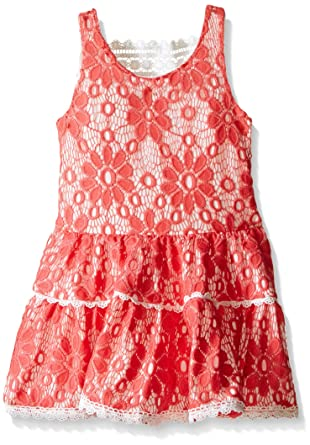 Amazoncom Rare Editions Girls Coral Lace Drop Waist Dress Clothing