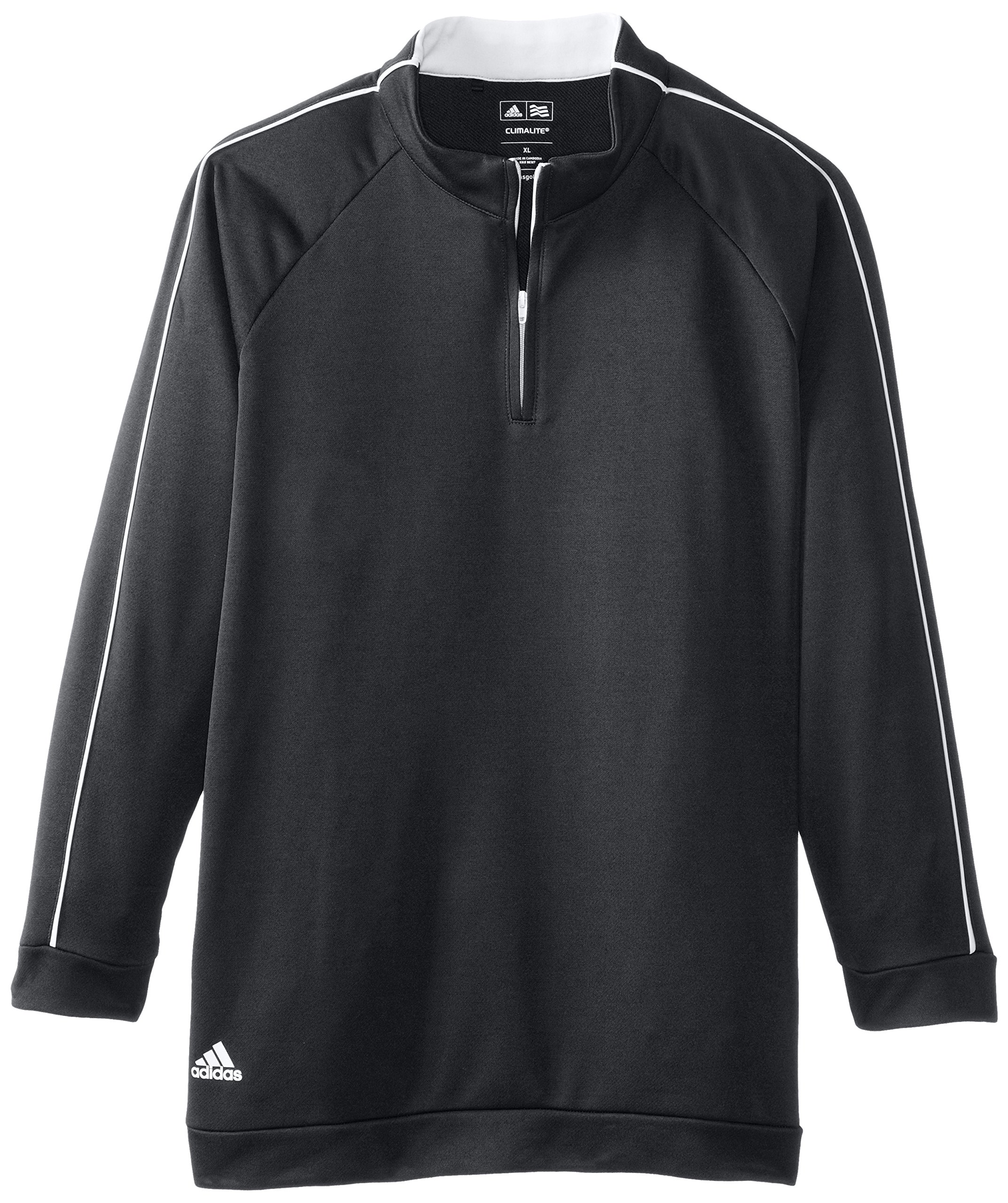 adidas Golf Boy's 3-Stripes Piped 1/4 Zip Jacket, Black/White, Medium by adidas