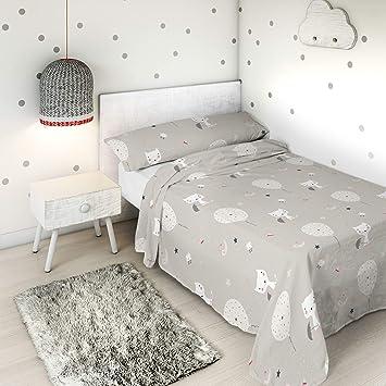 Haciendo EL INDIOJuego de sábanas Globos y Gatos Cama 105 cm: Amazon.es: Hogar